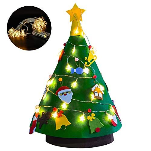 Binken Filz Weihnachtsbaum Kinder,DIY Weihnachtsbaum Filz Kinder Mit Ornamenten Dekoration |3D Filz Weihnachtsbaum |Filz Weihnachtsbaum Set Für Home Geschmückter Weihnachtsbaum