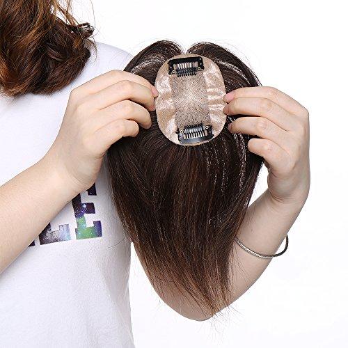 Haarteil Topper Toupee Remy Echthaar Pony Clip in Extensions Haarverlängerung Lace Front Toupet für Frauen [Dichte:130%] Dunkelbraun#2 6