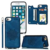 Funda de Cuero para iPhone 7, con Ranura para Tarjeta de Crédito y Billetera Plegable, PU Leather Flip Folio Case Compatible con iPhone 7, Azul