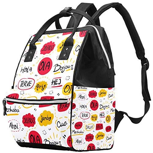 Grand sac à langer multifonction pour bébé - Différentes langues - Motif Hello - Sac à dos de voyage pour maman et papa