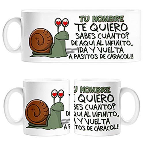 Diver Tazas Taza Caracol te Quiero a pasitos de Caracol Personalizable con Nombre - Cerámica