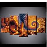 5 Piezas Lienzo Arte De Pared Giros De Amor Inmortales Fotos Sala De Estar Pintura Decorativa Moderna Sofá Casero Decoración De Fondo Restaurante Cartel Mural