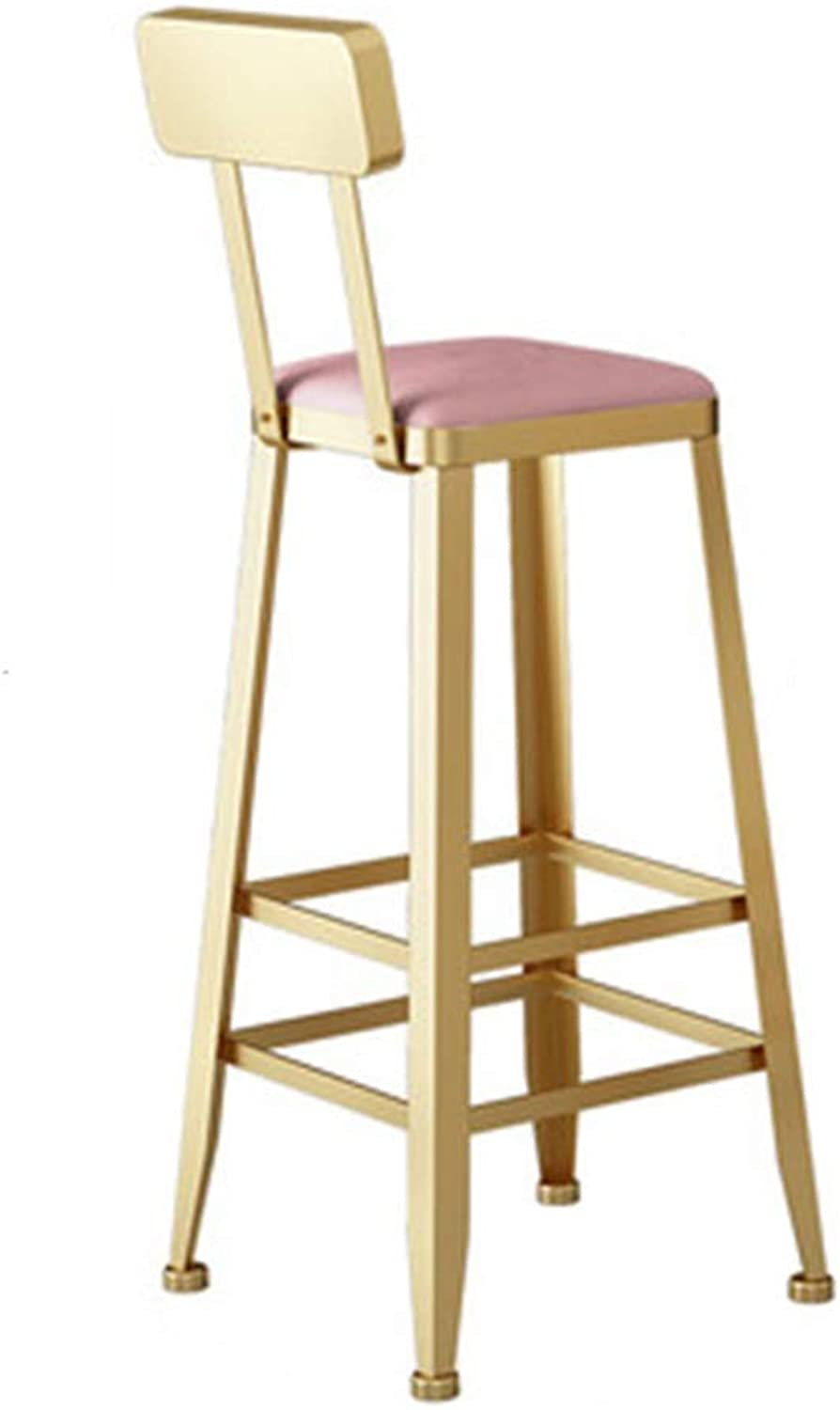 Nordic Bar Stool Creative High Foot Chair Personality Design Metal Seat Cafe Counter Restaurant Armchair Household 0527A (color   Pink, Size   75cm Seat Height)