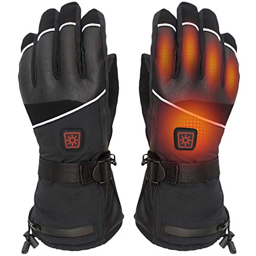 CHEROO Battery Heated Gloves - 6 Heating Levels w/Intelligent Control, Electric Rechargeable Waterproof Breathable Winter Thermal Gloves