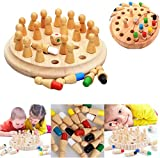 WSNDG Juego de memoria de madera Ajedrez Diversión Juego de mesa familiar Niños y adultos/Cultivar Cognición de color educativo para niños