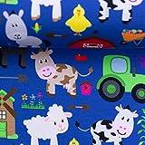 Swafing Theo Jersey Baumwolle, Bauernhof, Tiere, Royalblau