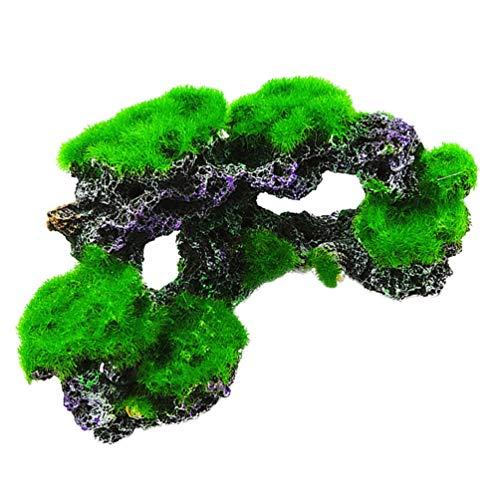 POPETPOP Hierba Artificial Subacuática -1 Pieza de Resina de Arrecife de Coral Artificial como Ornamentos de Terrario Tanque de Peces Escultura de Musgo Modelo de Plantas Acuáticas para El