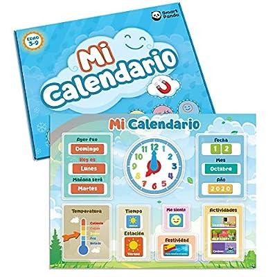 Mi Primer Calendario de SmartPanda - Juguete Educativo Magnético para Niños o Niñas - Incluye Reloj, Estación Meteorológica, Actividades y Emociones – para Pared o Frigorífico – en Español por Smart Panda