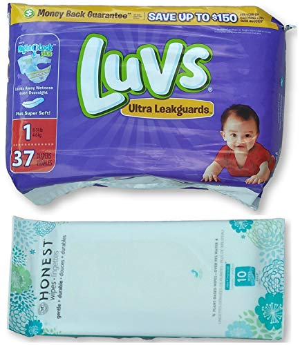 Luvs Diapers Size 1 Overnight Disposable (37ct) (8-14lbs) Bundle with Bonus Honest Baby Wipes (10ct)