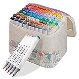アップグレード版マークペン60色のソフトペン先 プロの絵画油性アルコールマーカーペン 両端アート用品マーカーペンセット ペンベースペンバッグ付き