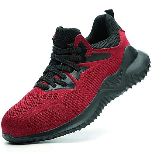 SUADEEX Sicherheitsschuhe Herren Damen Arbeitsschuhe S3 Leicht Sportlich Atmungsaktiv Schutzschuhe Stahlkappe Sneaker,9b Rot,43EU