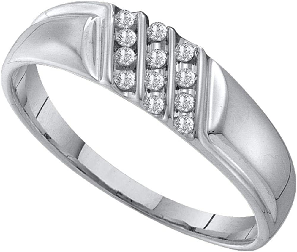 Solid 10k White Gold Men's Tr Diamond Channel-set Round Diagonal Limited Special Price Direct stock discount