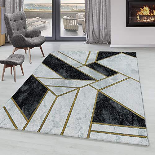 Tapis de Salon Tapis Design a Poil Ras Motif Marbré Modèle Abstrait Lignes Or, Couleur:Gold, Taille:160x230 cm