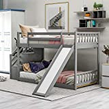 SOFTSEA Toddlers Low Bunk Beds with Slide, Twin Over Twin Bunk Bed with Stairs and Storage Space for Kids Teens Juniors, Multifunctional Design, Two Step Stairs Storages (Grey(Bunk))