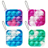 Clanam 4Pcs Mini Tie dye Push pop Bubble Sensory Fidget Toy, Mini Us Anxiety Stress Reliever Hand Toys for Kids Adults, Keychain Easily Attaches to Keys Backpack(B)