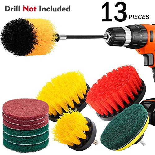 KNGUVTH 13 Piece Drill Brush Attachments Set, Power Scrubber Brush Cleaning Kit with Scrub Pads &...