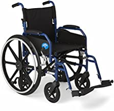 """Medline Hybrid Wheelchair + Transport Chair with Removable Desk-Length Arms and Swing-Away Leg Rests, 18"""" Seat"""