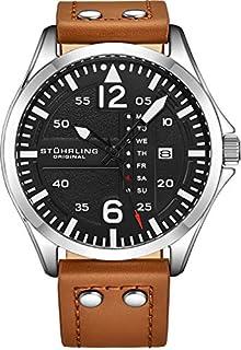 Stuhrling Original Mens reloj de acero inoxidable deportivo aviador analógico, rápida configuración de fecha, casual correa de piel