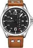 Stuhrling Original Reloj de cuero para hombre, reloj de aviación, fecha de día rápida, correa de cuero con remaches de acero, colección de relojes para hombre, Marrón,