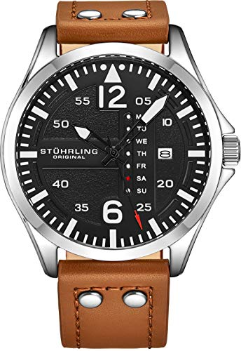 Stuhrling Original Mens Leather Watch -Aviation Watch, Quick-Set Day-Date, Leather Band with Steel Rivets, Men Watch Collection