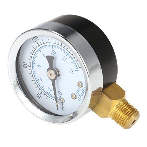 KKmoon 40 mm 0~200 psi 0~14 bares piscina filtro de presión de agua Dial'NPT hidráulico Indicador de presión del manómetro medidor de 1/8
