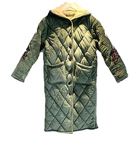 BLACK ELL Bata suave y ligera, albornoz de salón, más ropa cálida y aterciopelada, de 3 capas, gruesa, acolchada, pijama-F_XL