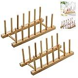 Escurridor de Platos de bambú 2 Pzs Soporte para Platos de Bambú, Estante de...