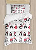 Ambesonne Winter Duvet Cover Set, Penguins Hand Drawn Merry Christmas Greetings Babies Kids Toddler, Decorative 2 Piece Bedding Set with 1 Pillow Sham, Twin Size, White Pink