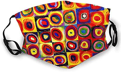 Mascarilla completa Kandinsky cuadrados círculos pasamontañas escudo bucal con 2 filtros reemplazables