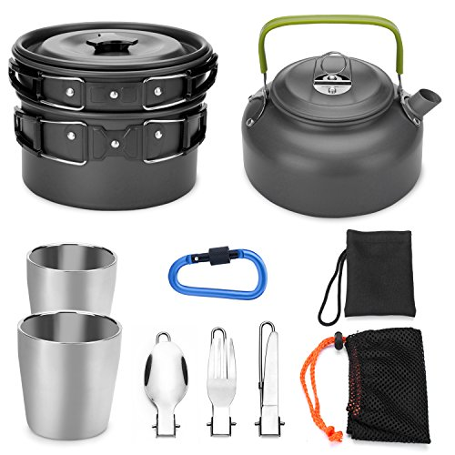 Odoland 10pcs Camping Cookware Mess Kit, Lightweight Pot Pan...