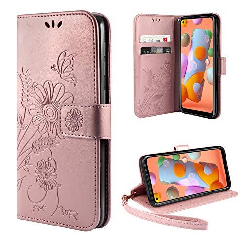 ivencase Handyhülle Kompatibel mit Samsung Galaxy M11 / A11 Hülle Flip Lederhülle, Handyhülle Book Hülle PU Leder Tasche Hülle & Magnet Kartenfach Schutzhülle - Pink Gold