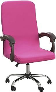 HIFUAR Funda para silla de oficina elástica para sillas de ordenador, antideslizante, lavable, de tela de poliéster de color liso, fundas para sillas giratorias para estudio, oficina (M, rosa)