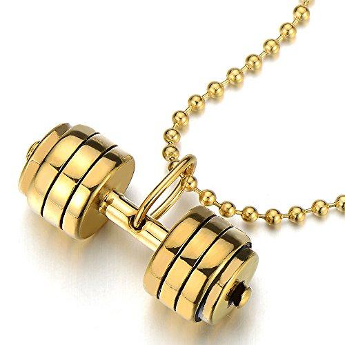 COOLSTEELANDBEYOND Oro Barra con Pesas Pesa de Gimnasia Colgante, Collar de Hombre...