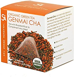 SA Sugimoto Tea Company Organic Genmaicha - Authentic Japanese Green Tea - Sencha Green Tea with Roasted Rice - 玄米茶 - Antioxidants, Caffeine, L-Theanine - 12 Count Compostable Pyramid Teabags