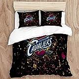 JINGGANGSHANEGGPLANT Duvet Cover Set,Cleveland Ca-va-li-ers (7) Decorative 3 Piece Bedding Set with 2 Pillow Shams, Twin Size