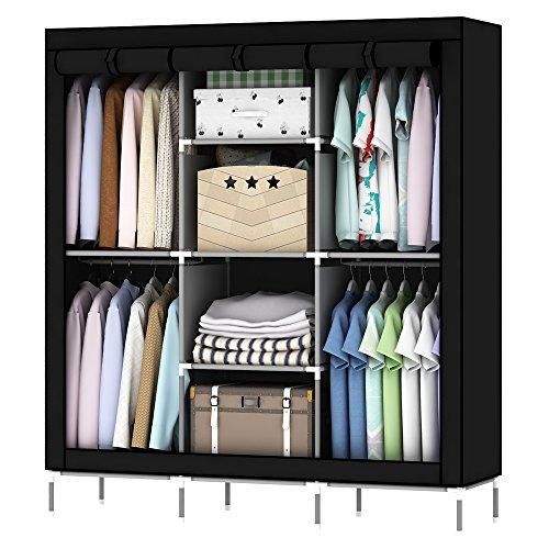 OUMYJIA 69 inches Non-Woven Fabric Wardrobe Portable Clothes Closet Storage Organizer, 51 x 17.5 x 69 inches, Black