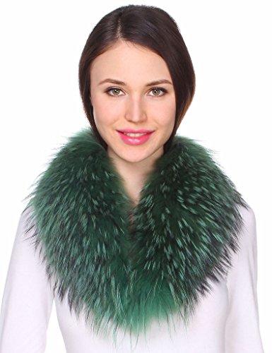 Ferand - Bufanda Chal Cuello de Piel de Mapache Auténtico DesmontableTeñido para Abrigo Chaqueta Chaleco Parka de Mujer Verde