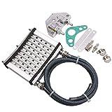 VORA Kit Universal de Radiador de RefrigeracióN del Enfriador de Aceite del Motor CNC de la Motocicleta para 50Cc 110Cc 125Cc 140Cc 150Cc ATV Pit Pro Trail Suciedad Plata