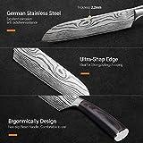 Santokumesser 7 zoll, Japanisch Sushi Messer, Kochmesser Küchenmesser deutschem Messerstahl mit ergonomischem Griff mit Geschenkbox für Haus, Restaurant - 3