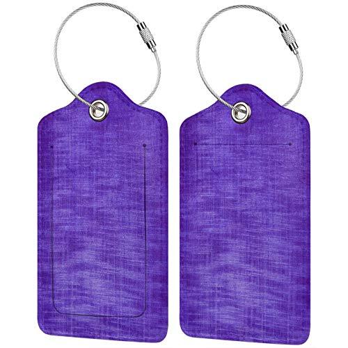 FULIYA - Juego de 2 etiquetas de cuero de alta gama para maletas, identificador de viaje para bolsos y equipaje, para hombres y mujeres, morado, textura, desigual, color, tonos