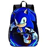 Mochila escolar Sonic El erizo de dibujos animados Anime para estudiantes, duradera, resistente al agua, ajustable, mochila escolar (Sonic 1,28 x 14 x 40...