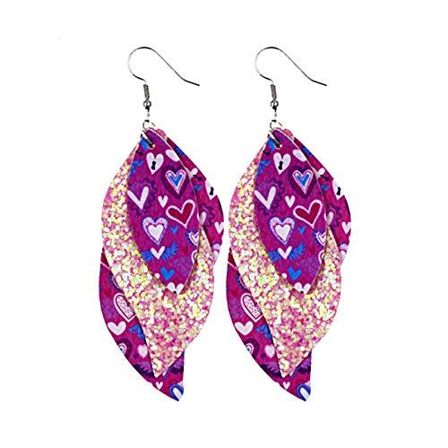 Ruby569y Pendientes colgantes para mujeres y niñas, pendientes de cuero en forma de S, pendientes brillantes de lentejuelas, joyería accesorios regalos - 11