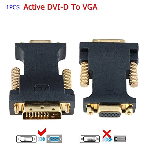 DVI to VGA, CableDeconn Active DVI-D 24+1 to VGA with Chip Kabel Adapter Konverter for PC DVD Monitor HDTV