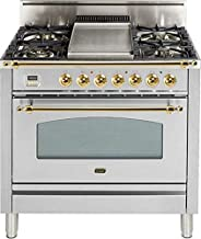 Ilve UPN90FDVGGI Nostalgie Series 36 Inch Gas Convection Freestanding Range, 4 Sealed Burners, 3.5 cu.ft. Total Oven Capacity in Stainless Steel, Brass Trim (Natural Gas)