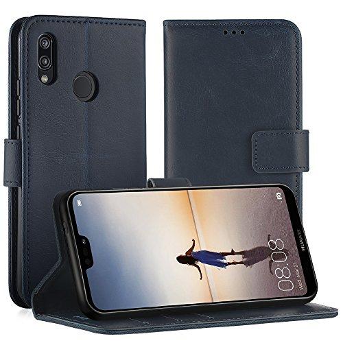Simpeak Cover Compatibile per Huawei P20 Lite, Custodia Compatibile per Huawei P20 Lite in Pelle Portafoglio con Supporto,[Nuova Versione],Blu