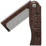 BasicForm Folding Wooden Beard Comb, Fine-Tooth, Engraved Sugar Skull Gift, For Men Beard, Mustache, Hair - Pocket Size