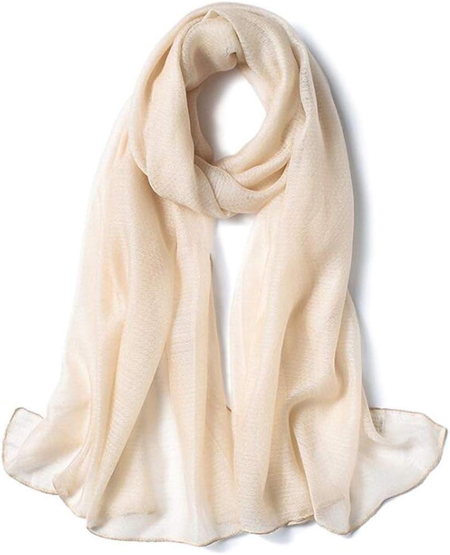 Plain Mulberry Silk Scarf Scarves Shawl Wraps, Gauze Ladies Gift (color   Beige)