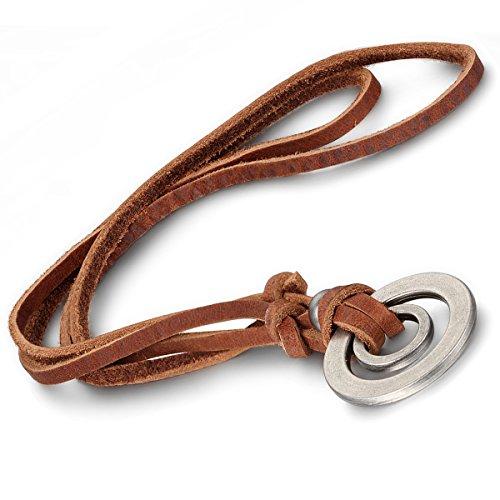 OIDEA Leder Halskette mit Lederseil rund um Dog Tag Hundemarke Anhänger, Schwarz Kette für Herren, Verstellbare Länge 40-80cm (Kreis Anhänger Halskette)