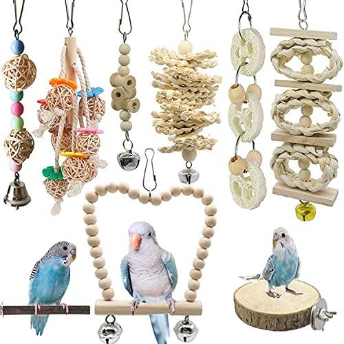 Juego de 8 Soportes para pájaros de Madera Natural para Colgar, Ideal para pequeños periquitos, cacatúas, conuras, Pinches, periquitos, guacamayos