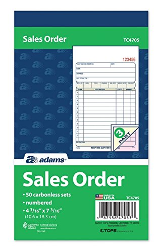 Adams Sales Order Book, 3-Part, Carbonless, 4-3/16 X 7-3/16 Inch, 50 Sets, White, Canary and Pink, Pack of 3